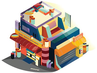 Caramel Building! vector art colors graphic design isometric adobeillustrator illustration