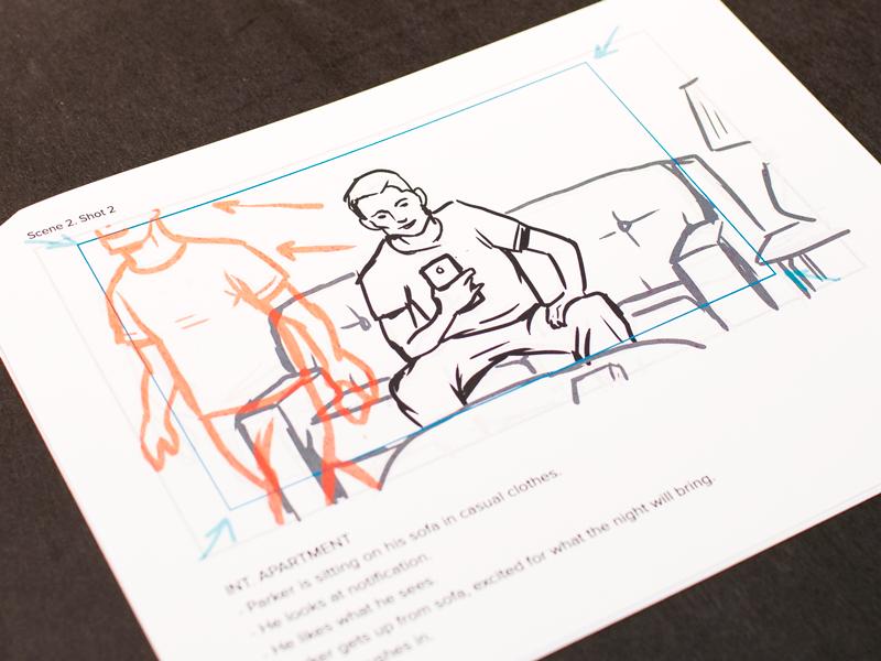 App Video Storyboard couch app video sketch storyboard