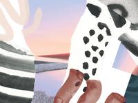 Microsoft Surface Notecard Artwork watercolor illustration print design notecard pattern texture artwork collage
