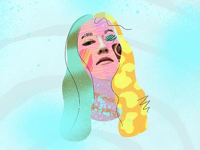 Femme pattern texture portrait mixedmedia woman female illustration collage