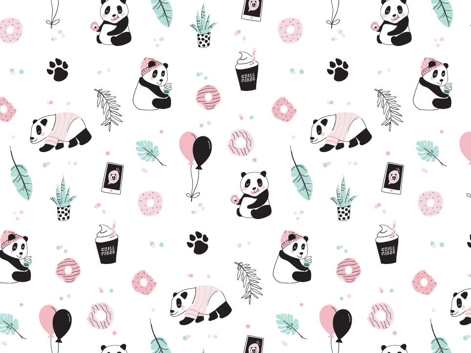Chill Vibes - Pandas pattern panda bear party kids design illustation