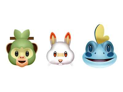 Pokemon Sword and Shield Starters Emoji by Token Interactive