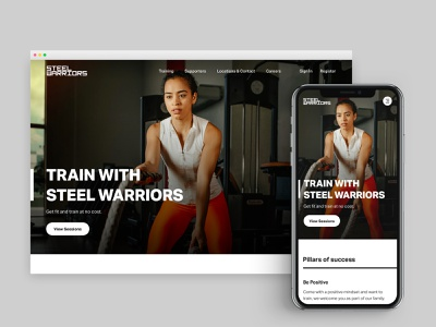 Steel Warriors Charity Gym - Training Page (Desktop x Mobile) landing page landing sports crime knife fitness gym london web design ui design