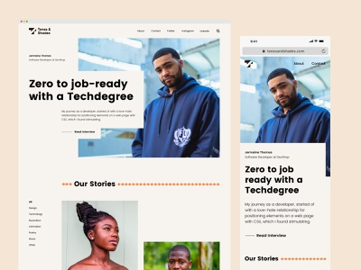 Tones & Shades - A Digital Magazine For Black Creatives clean ui design interviews landing page black culture london magazine black black creatives branding web design