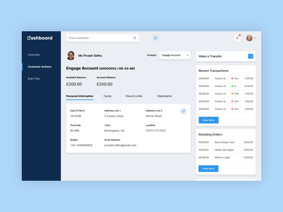 Banking Web App Dashboard - Activate Card ux design ui animation bank app banking london animation dashboard ui dashboad web design ui design