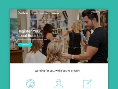 Hoohair App Landing Page Concept