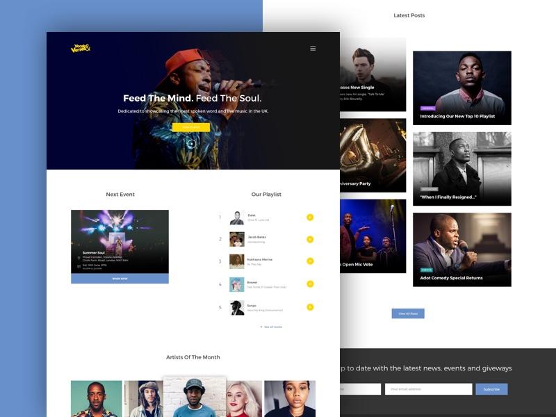 Vocals & Verses Website  design theme wordpress poetry sketch music ui design ux ui