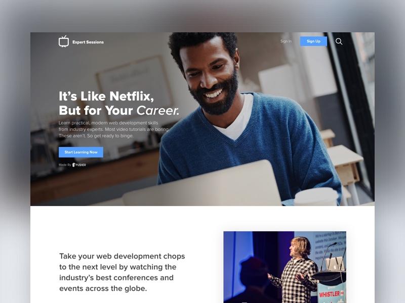 Expert Sessions - Landing Page design landing page app sketch netflix ui design ux ui