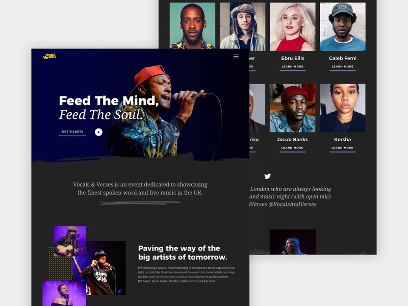 Vocals & Verses Website v3 2018 poetry events london ux design music clean landing page web design sketch ux ui design
