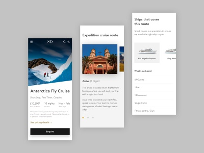 Luxury Cruise Page - Mobile Direction holiday ux design boats travel agency travel cruise london web design design ux ui landing page ui design