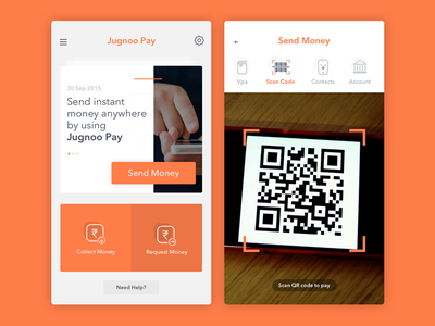 Jugnoo Pay payment request money send money contact account scan code orange paytm jugnoo pay