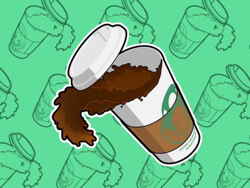 Spilling Coffee Sticker brand sticker cthulhu coffee
