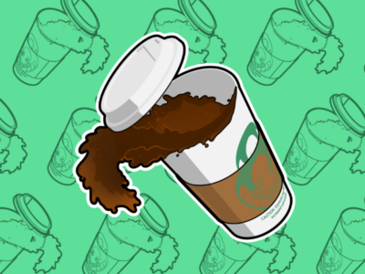 Spilling Coffee Sticker