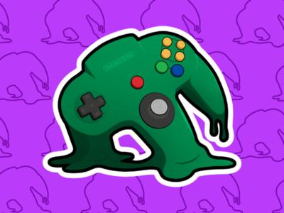Melting N64 Sticker
