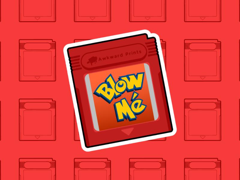 Red Cartridge Sticker sticker design rude retro cartridge gameboy pokemon