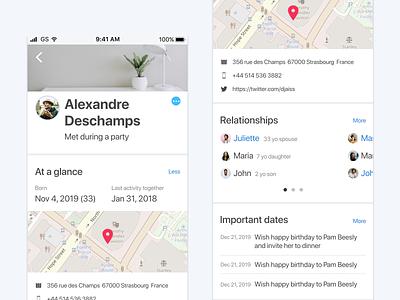 Monica mobile application avatar list home profile saas crm