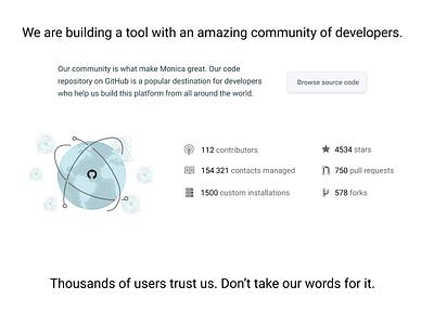 Monica marketing site redesign open source saas homepage monica