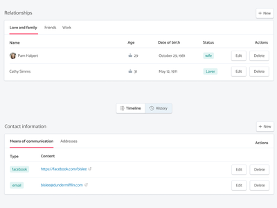 Exploration of the profile page button profile monica list ui saas