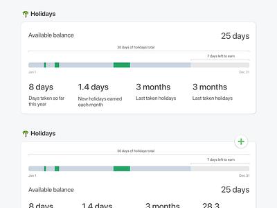 Holidays profile profile page saas day numbers stat balance progression holidays
