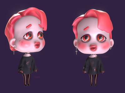 Lil Jim chibi cute vampire jimin bts 3ds max cartoon character 3d