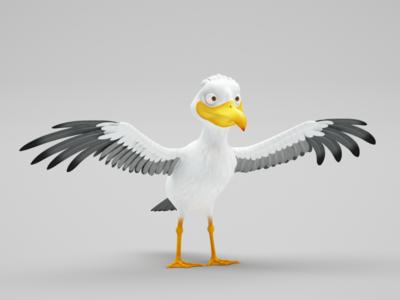 Sea-gull model 3ds max modeling 3d