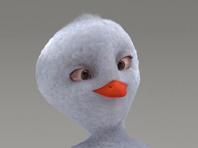 Birdy v-ray 3ds max character cartoon ornatrix 3d