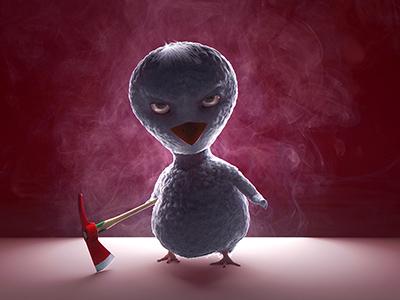 Sinister Bird v-ray 3ds max character cartoon ornatrix 3d