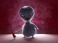 Sinister Bird v-ray 3ds max character cartoon ornatrix 3d
