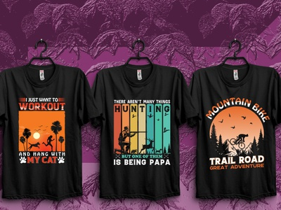 Hunting Moutain and Cat tshirt design