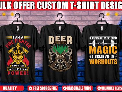 Deer Hunting Firefigther Gymnasium T-shirt Design. ui graphic design branding logo typography minimal illustration illustrator design lov profession fire deer hunting gym firefighter graphicsdesign tshirtdesign tshirt