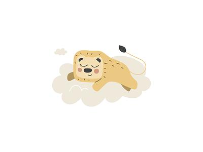 Sleeping lion children cute kids cartoon character design illustration lion animal sleep