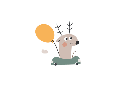 Deer icon race balloon baby kid car forest animal deer design illustration