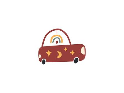 Car children art kids rainbow moon design illustration flat logo icon boho car symbol mark