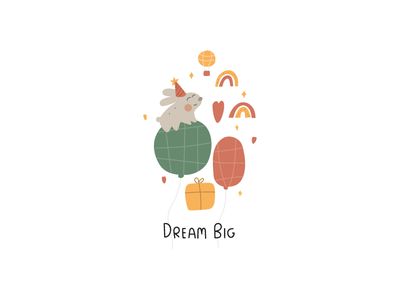Dream big vector illustration dream ballon woodland kids art rainbow illustraion children happy birthday celebrate rabbit