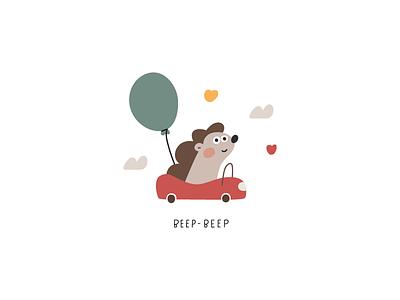 Beep-beep. design vector birthday balloon hedgehog animal automobile vehicle car baby kids illustration childrens illustration kids art