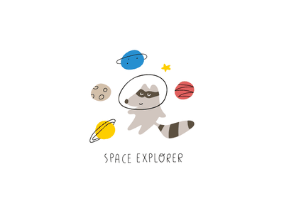 Space explorer vector graphic design saturn planet cosmos space baby cute illustration design children clipart kids animal racoon