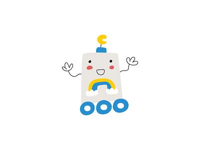 Cute robot clipart children cute tech rainbow baby vector flat illustration design kids space robot