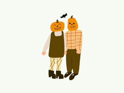 Halloween couple couple celebrate costume pumpkin season autumn fall eve halloween vector design flat illustration icon