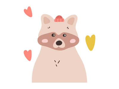 Raccoon hat clipart children kid woodland forest autumn winter raccoon animal icon vector design flat illustration