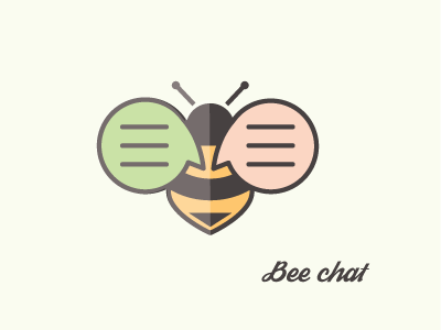 Bee chat | logo design flat bubble speech chat bee symbol mark logotype logo