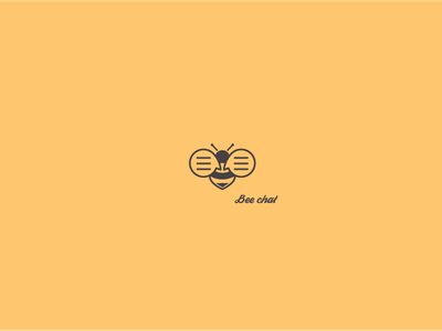Bee chat | logo design flat bubble speech chat bee symbol mark logotype logo