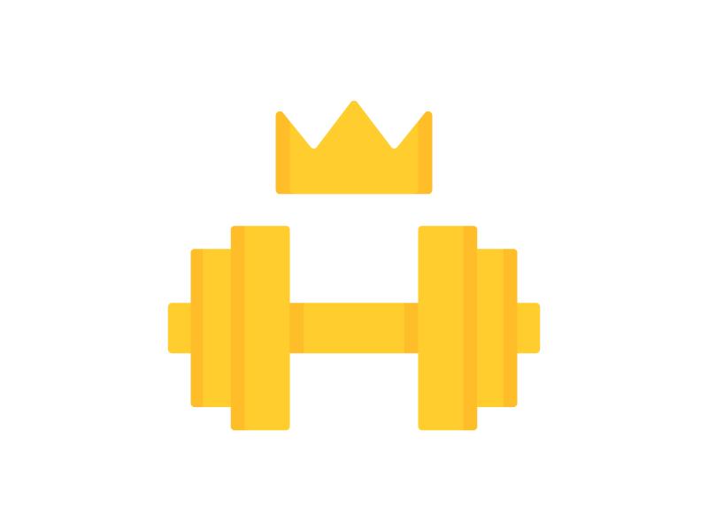 Royal GYM gold dumbbell royal gym icon symbol mark logo