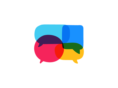 Speech bubbles conversation speech icon logotype design illustration mark symbol logo multi color simple speech bubble