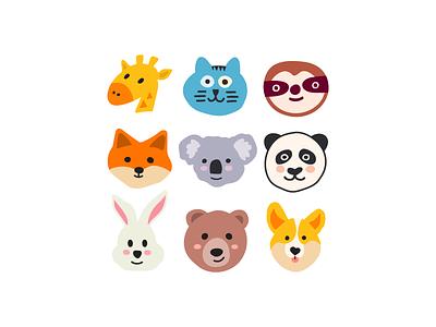 cute animals bear rabbit sloth corgi fox koala panda giraffe illustration logotype flat icon symbol logo mark