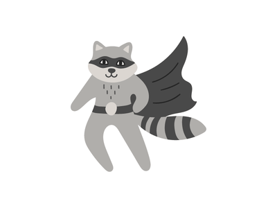 Super raccoon superhero raccoon animal design logotype illustration flat icon logo symbol mark