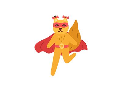 super squirrel power girl female superhero squirrel animal design illustration flat icon logo symbol mark
