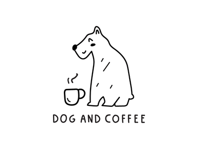 dog and coffee concept dog coffee coffee cup food animal logotype design illustration flat icon logo symbol mark