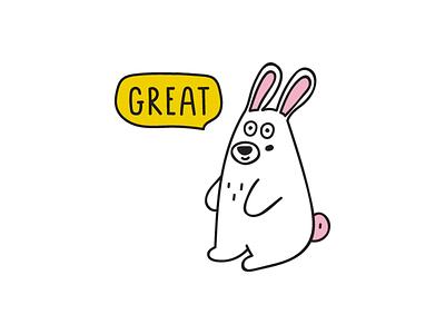 baby rabbit rabbit vector animal design illustration flat icon logo symbol mark
