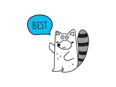 baby raccoon baby raccoon animal design illustration flat icon logo symbol mark