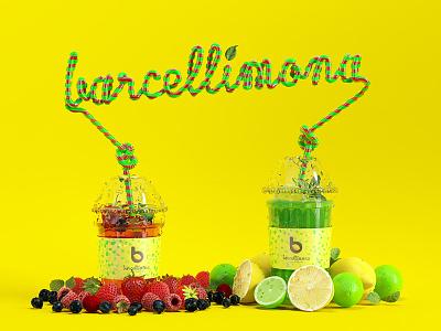 Barcellimona Cups barcelona fruit juice bar lemon straw straws 3d